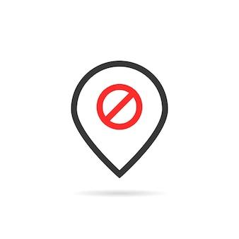 Lineaire pin zoals offline. concept van vals, alert, opmerken, reizen, voorkomen, verbieden, navigatie, ontkoppeling. vlakke stijl trend modern logo ontwerp element vectorillustratie op witte achtergrond