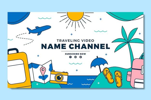 Lineaire platte avontuurlijke youtube-kanaalafbeeldingen
