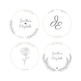 Lineaire platte bruiloft logo's collectie