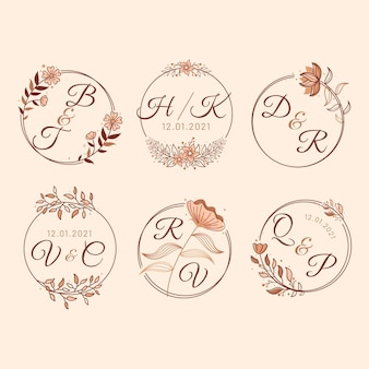 Lineaire platte bruiloft monogram ontwerpset