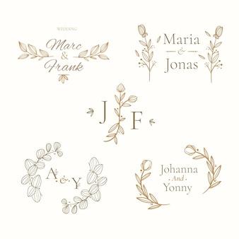 Lineaire platte bruiloft monogrammen collectie Gratis Vector