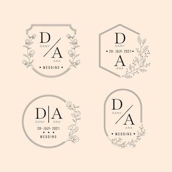 Lineaire platte bruiloft monogrammen collectie