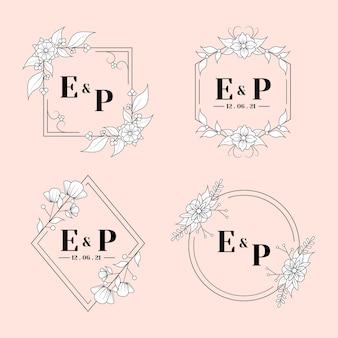 Lineaire platte bruiloft monogrammen instellen
