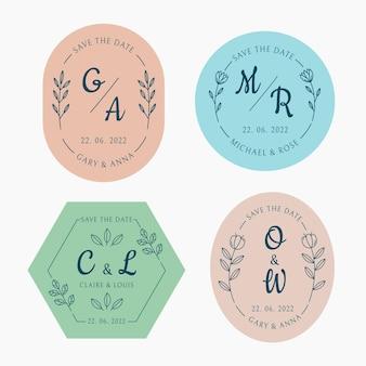 Lineaire platte bruiloft monogrammen set