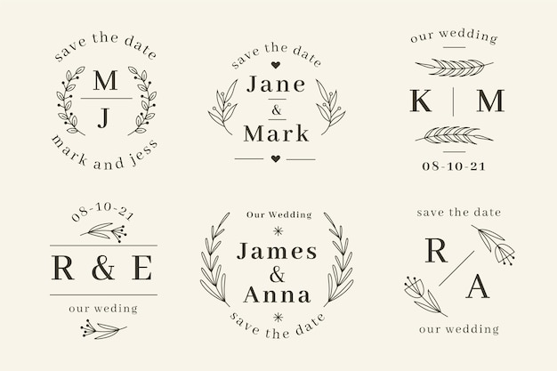 Lineaire platte bruiloft monogrammen sjablonen