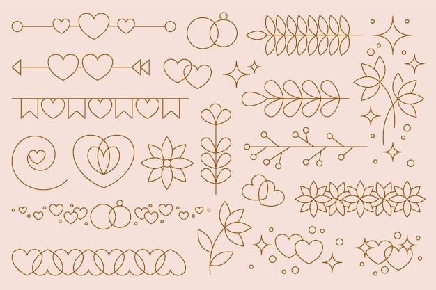 Lineaire platte bruiloft ornament collectie