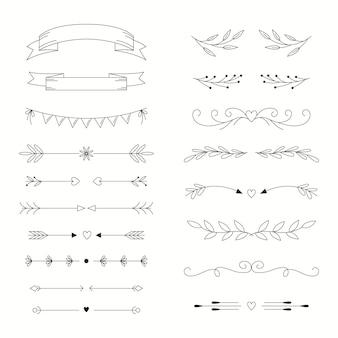 Lineaire platte bruiloft ornamenten collectie Gratis Vector