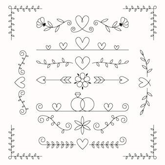 Lineaire platte bruiloft ornamenten collectie