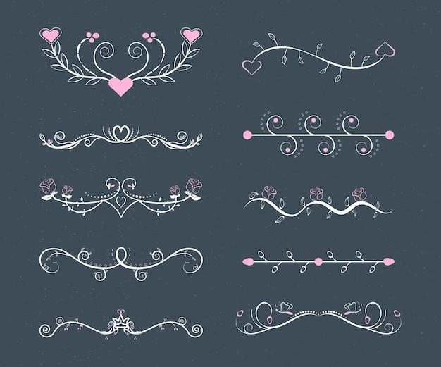 Lineaire platte bruiloft ornamenten set