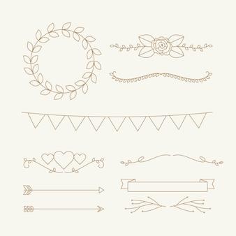 Lineaire platte bruiloft ornamenten