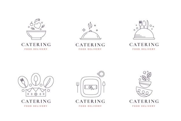 Lineaire platte catering logo-collectie