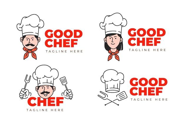 Lineaire platte chef-kok logo-collectie
