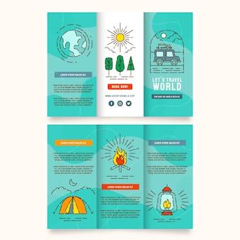 Lineaire platte driebladige brochuresjabloon voor avonturen