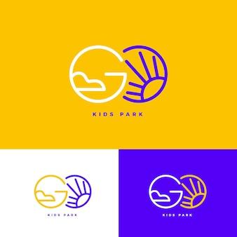 Lineaire platte go-logo sjabloon