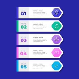Lineaire platte inhoudsopgave infographic sjabloon