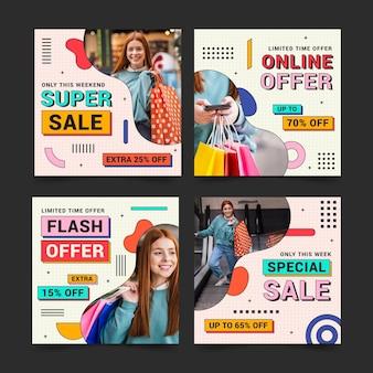 Lineaire platte instagram-verkoopberichtencollectie met foto