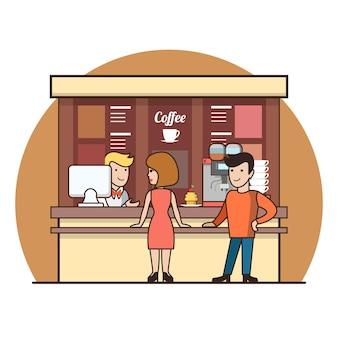 Lineaire platte klanten in de coffeeshoplijn die drankjes kiezen. ober, kassier, man, vrouw, klantpersonages. koffiepauze concept.