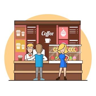 Lineaire platte klanten in de coffeeshoplijn die drankjes kiezen. showcase met taarten en donaties, ober, kassamedewerker, man, vrouw, klantpersonages. koffiepauze concept.