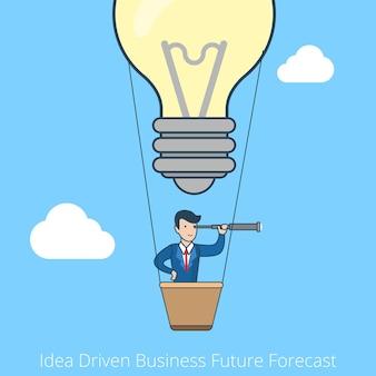 Lineaire platte lijn kunststijl idee gedreven toekomstvoorspelling bedrijfsconcept. zakelijke visie. zakenman vliegende ballonlamp.