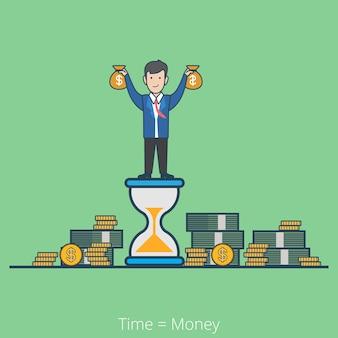 Lineaire platte lijnstijl tijd is geld bedrijfsconcept. zakenman op zandloper met geldzakken stapels dollar muntbiljetten.