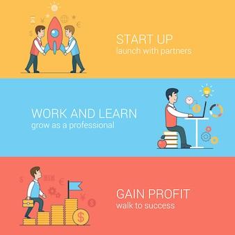 Lineaire platte lijntekeningen beginnen met werken en leren winstwinstconcept. partners die raket lanceren, behouden het succes van de studiewandeling.