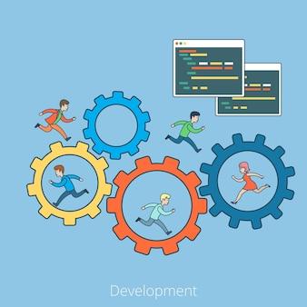 Lineaire platte mensen die op tandrad en binnen lopen, programmacode-interfacevenster. bedrijfs ontwikkelingsconcept.