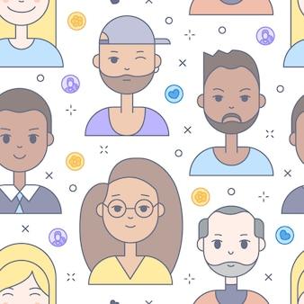 Lineaire platte mensen worden geconfronteerd met naadloos patroon. sociale media avatar, userpic en profielen.