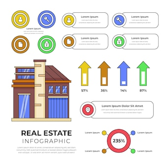 Lineaire platte onroerend goed infographic sjabloon