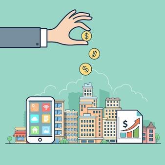 Lineaire platte onroerend goed winst pictogrammen website vector illustratie makelaar hand munten geld en smart
