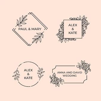 Lineaire platte ontwerp huwelijksmonogrammen