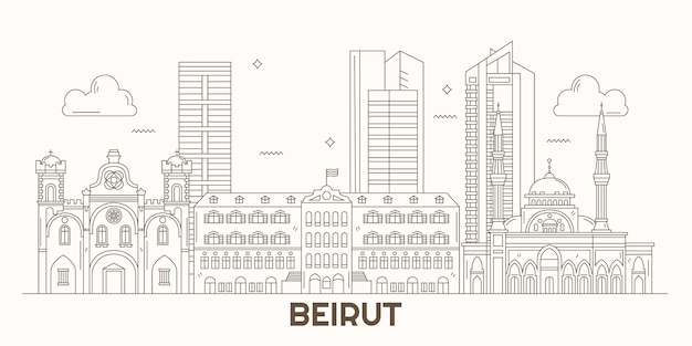Lineaire platte ontwerp skyline van libanon