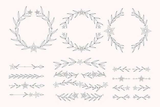 Lineaire platte ontwerpset bruiloft ornament