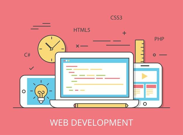 Lineaire platte responsieve webontwikkeling lay-out website held afbeelding illustratie. app-programmeertechnologie en softwareconcept. c #, php, html5, css3-technologieën, laptop, tablet en smartphone.