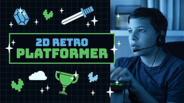 Lineaire platte retro gamer youtube-miniatuur Gratis Vector