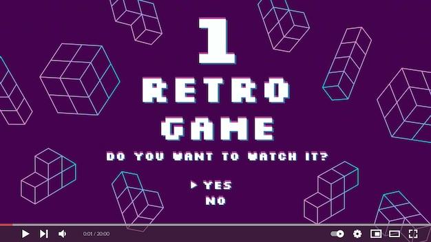 Lineaire platte retro gamer youtube-miniatuur