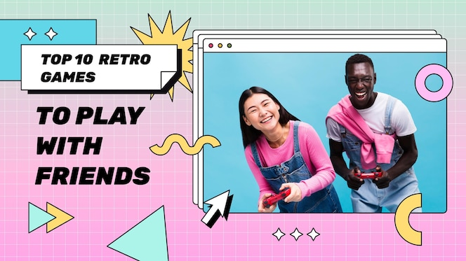 Lineaire platte retro gamer youtube miniatuursjabloon