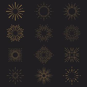 Lineaire platte sunburst-collectie Gratis Vector