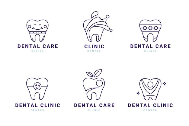Lineaire platte tandheelkundige logo-collectie