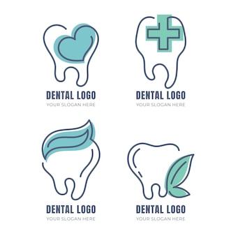 Lineaire platte tandheelkundige logo-collectie Gratis Vector