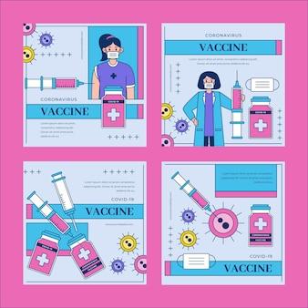 Lineaire platte vaccin instagram posts-collectie