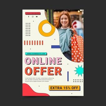 Lineaire platte verticale verkoop poster sjabloon met foto