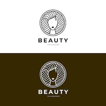 Lineaire platte vrouw logo sjabloon