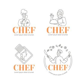 Lineaire platte vrouwelijke chef-kok logo-collectie