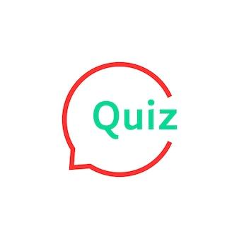 Lineaire quiz tekstballon. concept van oplossing, enquête, kiezen, speeltijd, onderzoeker, probleem, probleem, oplossen. vlakke stijl trend modern logo ontwerp kunst vectorillustratie op witte achtergrond