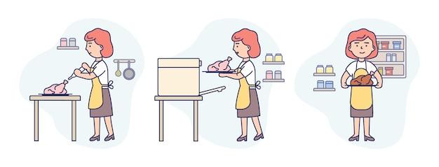 Lineaire samenstelling van vrouw in schort koken