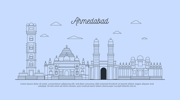 Lineaire schets ahmedabad skyline
