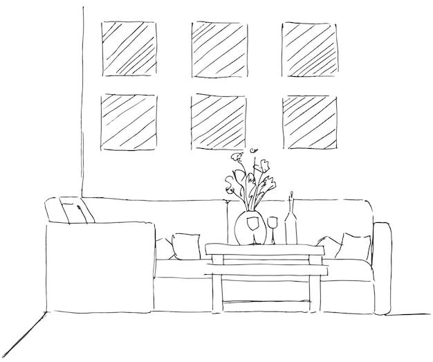 Lineaire schets van een interieur. kamerindeling. vector illustratie. lineaire schets van het interieur.