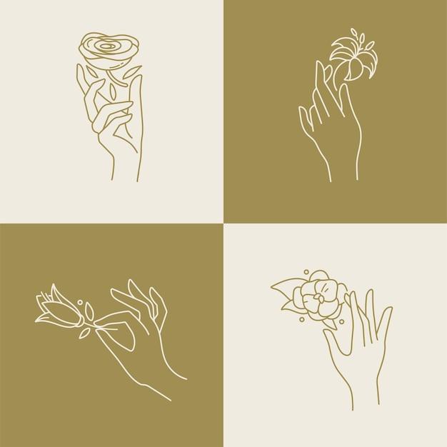 Lineaire sjabloonlogo's of emblemen - handen in verschillende gebaren met bloemen.
