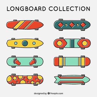 Lineaire skateboards met abstract ontwerp