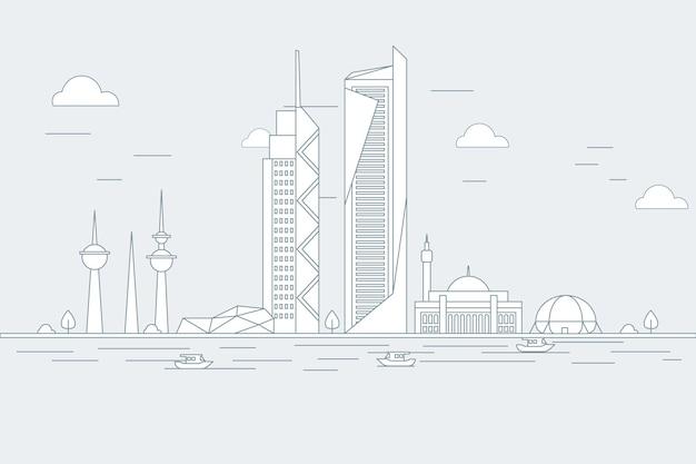 Lineaire skyline van koeweit